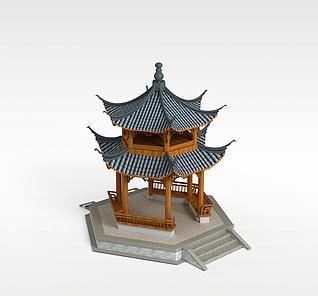 3d双层亭子模型