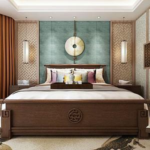 中式雙人床3d模型