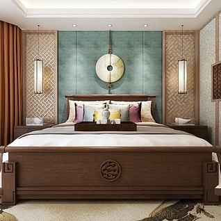 中式双人床3d模型