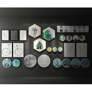 北欧植物装饰画3d模型3d模型