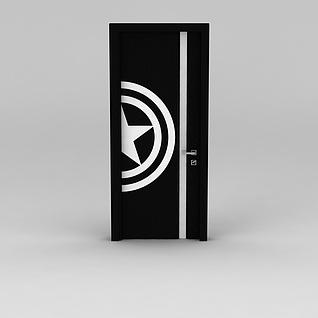 黑白色创意室内门3d模型