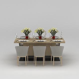 六人餐桌椅3d模型