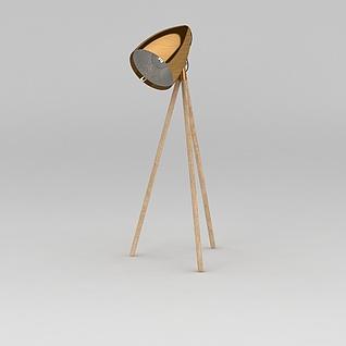 金色复古落地灯3d模型