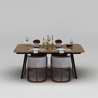 西式餐桌椅3d模型