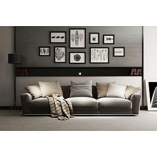 现代布艺沙发3d模型
