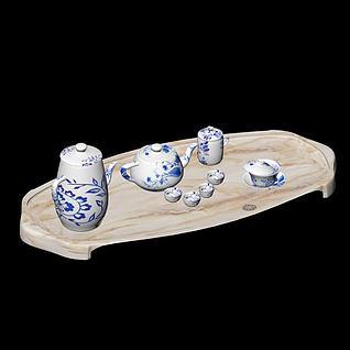 青花瓷茶具3d模型
