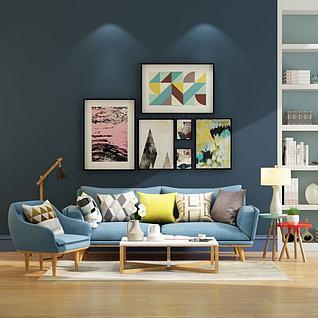 北欧布艺沙发茶几组合3d模型