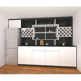 现代时尚酒柜3d模型