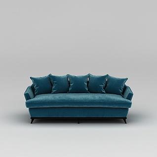 蓝色长沙发3d模型3d模型