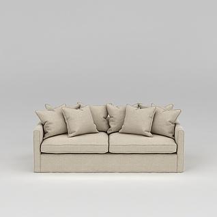 杏色布艺沙发3d模型3d模型