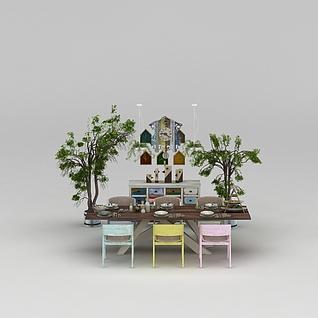 田园风餐桌椅3d模型