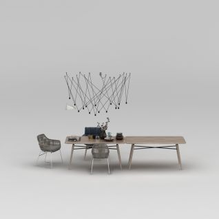 现代时尚拼接餐桌椅3d模型