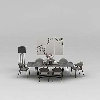 中式桌椅组合3d模型