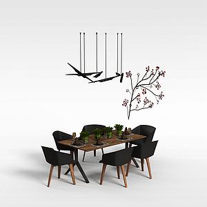 中式餐桌椅模型