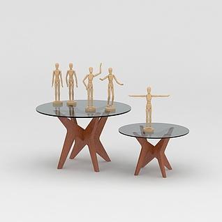 现代边几人体模型组合3d模型