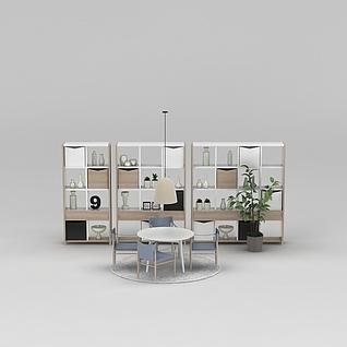 置物架休闲桌椅组合3d模型