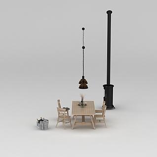 原木餐桌椅3d模型
