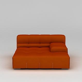 橘红色沙发3d模型