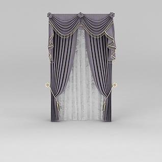藕荷色窗帘3d模型