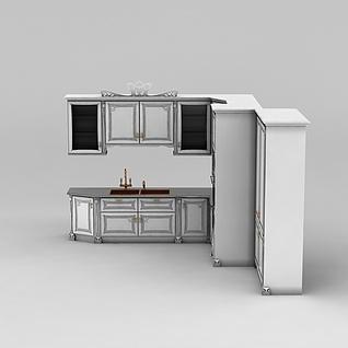 白色一体橱柜3d模型