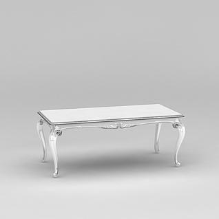 白色欧式餐桌3d模型