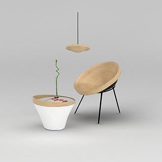 休闲椅边几组合3d模型