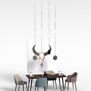 北欧餐桌椅模型