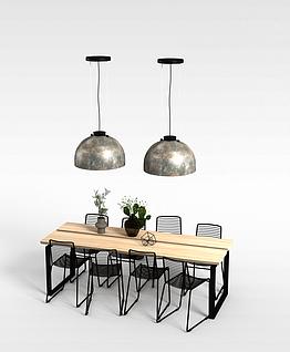 工业风餐桌椅3d模型