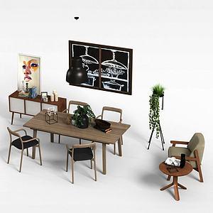 實木桌椅模型
