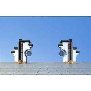 新中式大门3d模型
