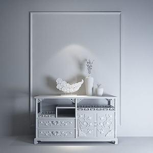 中式雕花玄關柜模型3d模型