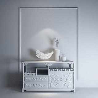 中式雕花玄关柜3d模型