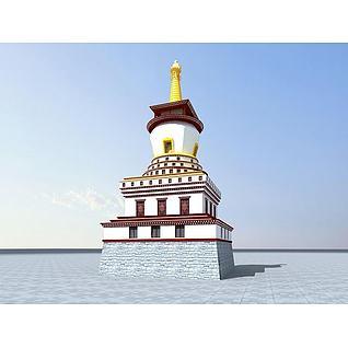 藏式白塔3d模型