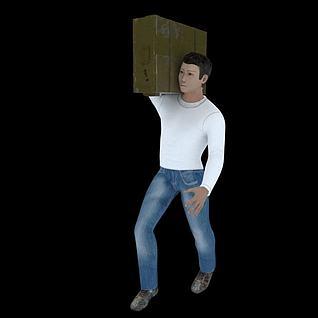 扛箱子的人3d模型