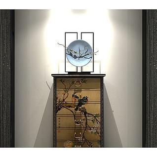 中式玄关柜3d模型