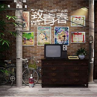 怀旧电视柜电视机3d模型