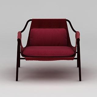 红色休闲椅3d模型3d模型