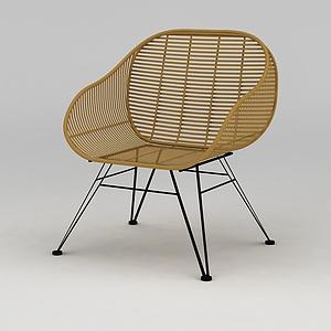 休閑藤椅模型