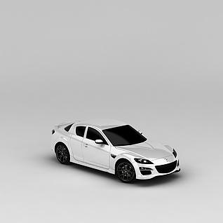 马自达白色汽车3d模型