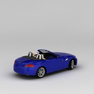 蓝色宝马敞篷车3d模型