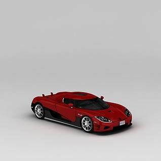 红色跑车3d模型