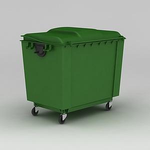 3d绿色移动垃圾箱模型