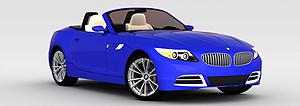 3d蓝色宝马敞篷车模型