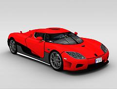 红色跑车模型3d模型