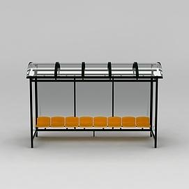 公交站台休息椅模型