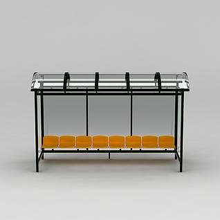 公交站台休息椅3d模型