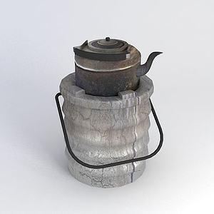 泥炉烧水壶模型