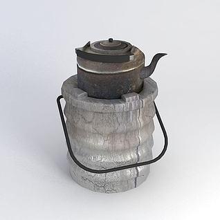 泥炉烧水壶3d模型