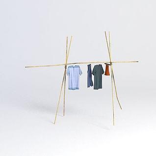 竹子衣架衣服3d模型