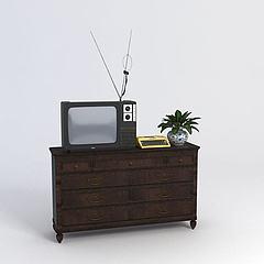 电视电视柜组合模型3d模型